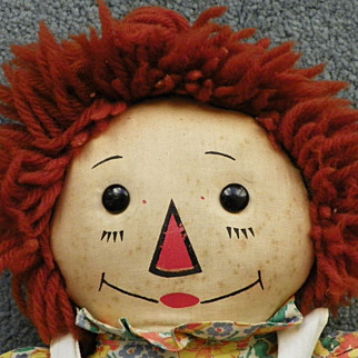 """REDUCED SALE: Raggedy Ann Doll - Georgene - Wool Hair - Black Outlined Nose - 19"""" - Vintage - Rare"""