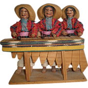 Latino Musicians  Playing a Marimba - A Wood and Cloth Sculpture
