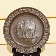 Circa 1890 Tin ABC Plate With Jumbo The Elephant