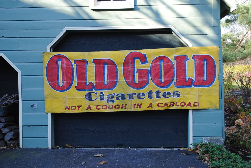 """""""Old Gold"""" Cigarette Advertising Oilcloth Banner circa 1950...Not A Cough In A Carload"""