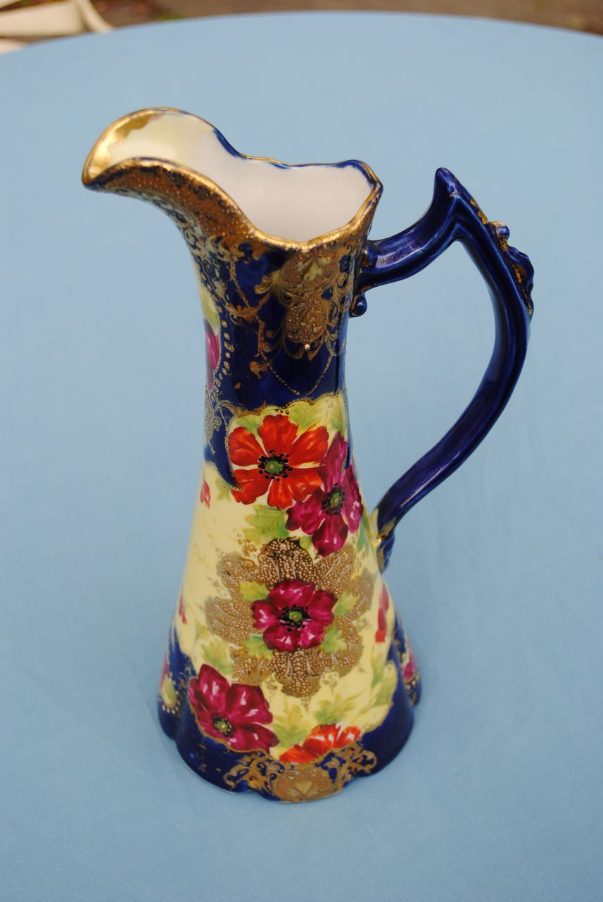 Beautiful Japanese Pitcher With Gold and Cobalt Decoration