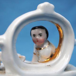 Charming Staffordshire Box Circa 1870 With China Boy Figure