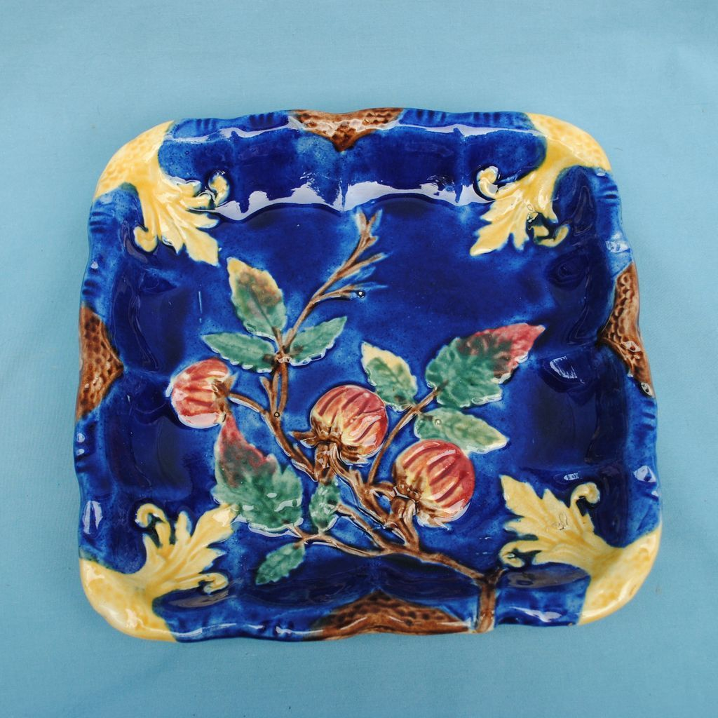 Lovely Cobalt Blue Square Majolica Serving Plate or Display Piece