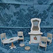 8 Piece Parlor Set Of Gottschalk Dollhouse Furniture Found In France
