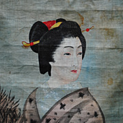 Japanese Hand Painting On Cloth.....Late 19th C.