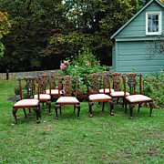 REDUCED 8 Beautifully Carved Vintage Chippendale Chairs