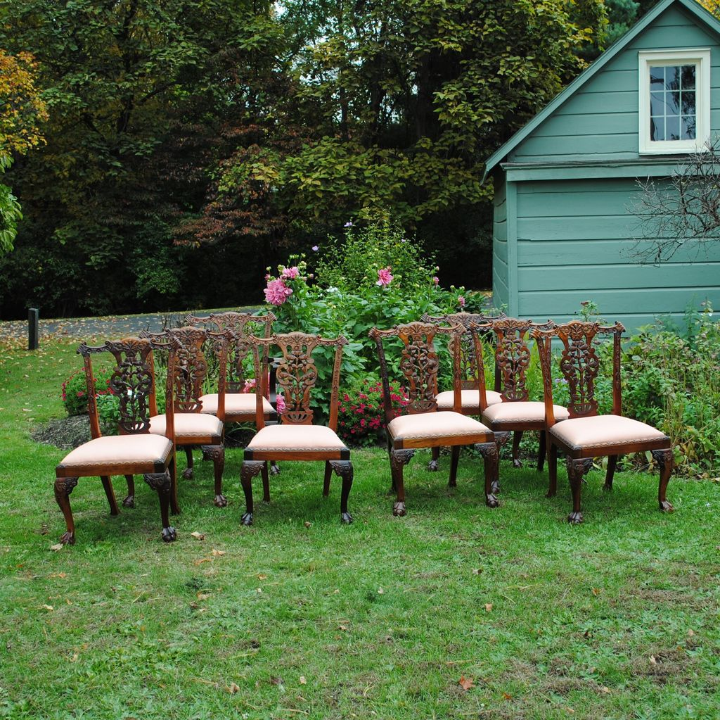 8 Beautifully Carved Vintage Chippendale Chairs