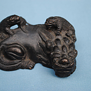 Miniature Japanese Bronze Lion with Her 2 Cubs