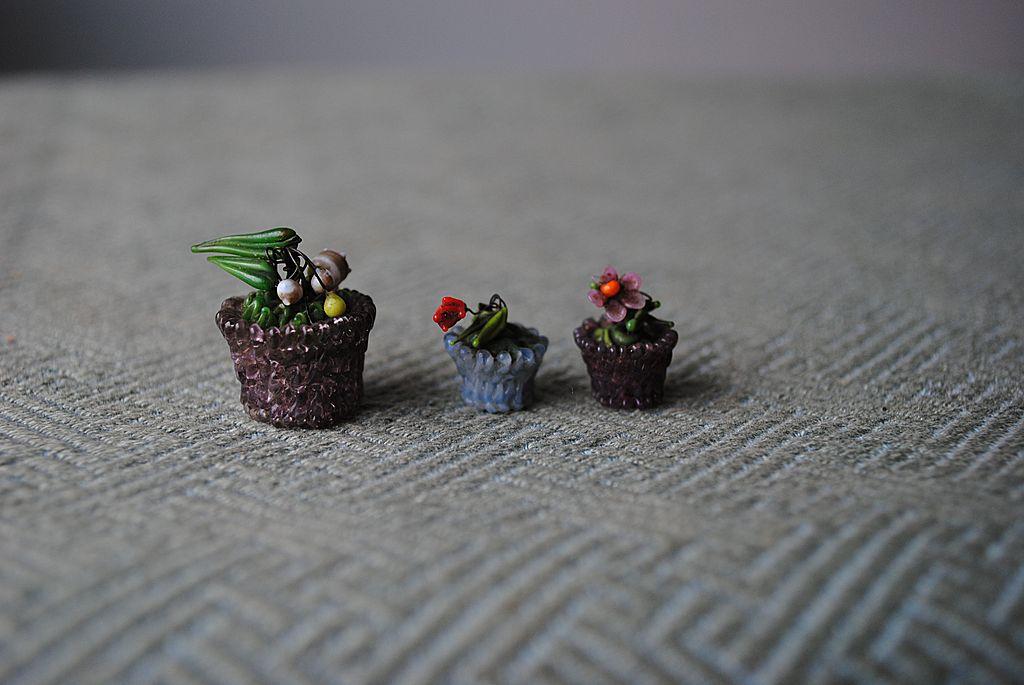3 Charming Miniature Glass Flowerpots......With Glass Flowers