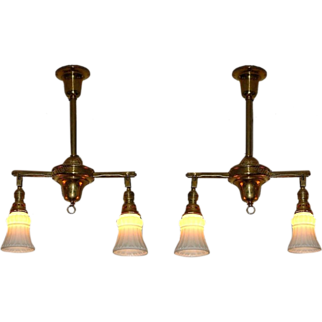 Two Antique Brass 2 Shade Lighting Fixtures. c1908 Vintage Ship or Train with Gimbaled ends. priced each
