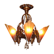 Vintage Semi Flush Mount Bronze Brown Tip Slip Shade Chandelier
