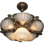 Very Rare 6 Light Slip Shade Ceiling Fixture in Original Condition
