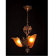 Copper Clad Vintage Slip Shade Ceiling Fixture Original Finish