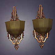 Pair Vintage Art Deco Wall Sconce with Original Slip Shade Glass
