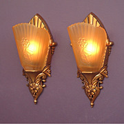 Vintage Art Deco Inspired Slip Shade Wall Sconces c.1920s - 30s