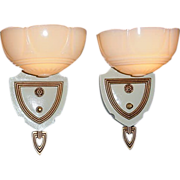 Pair 1930s Vintage Custard Shade Wall Lighting Sconces Original Antique Clip / Slip Shades on Fixtures