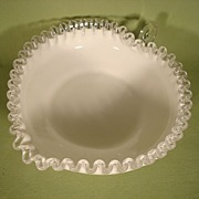 Fenton Silver Crest Heart Shaped Bowl with Handle