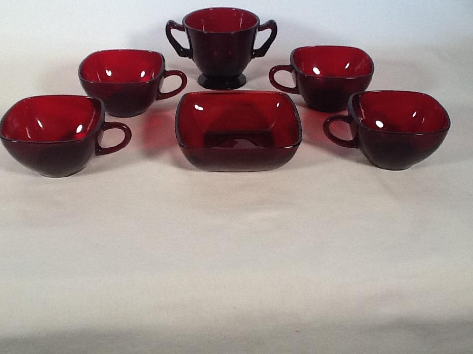 Vintage Royal Ruby Red Square Coffee/Tea Cups Berry Bowl + Sugar