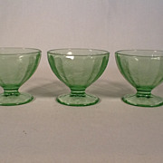 3 Floral Poinsettia Sherbet Dishes in Green by Jeannette Glass Co