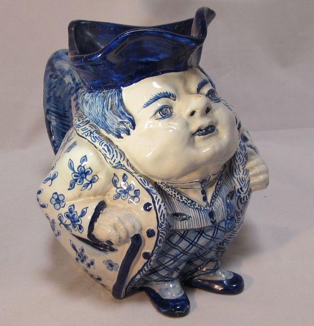Blue White Faience Dutch Tin Glazed  Pitcher