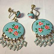 Enameled Floral Earrings [ screw type]