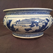 SALE Antique Chinese Kangxi- Style Washer or Bulb Bowl