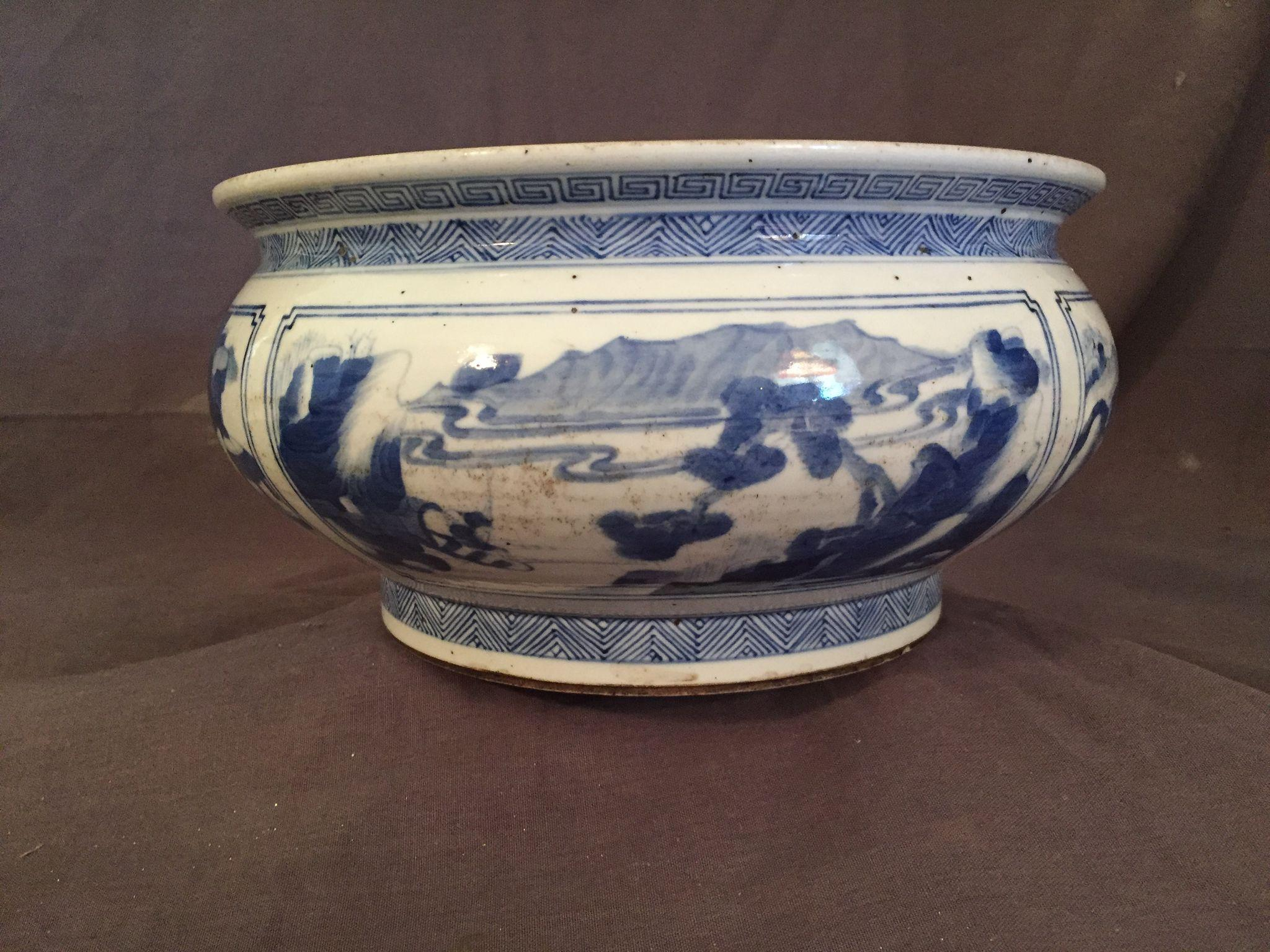 Antique Chinese Kangxi- Style Washer or Bulb Bowl