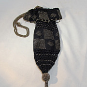 Crochet Beaded Marcasite  Bag