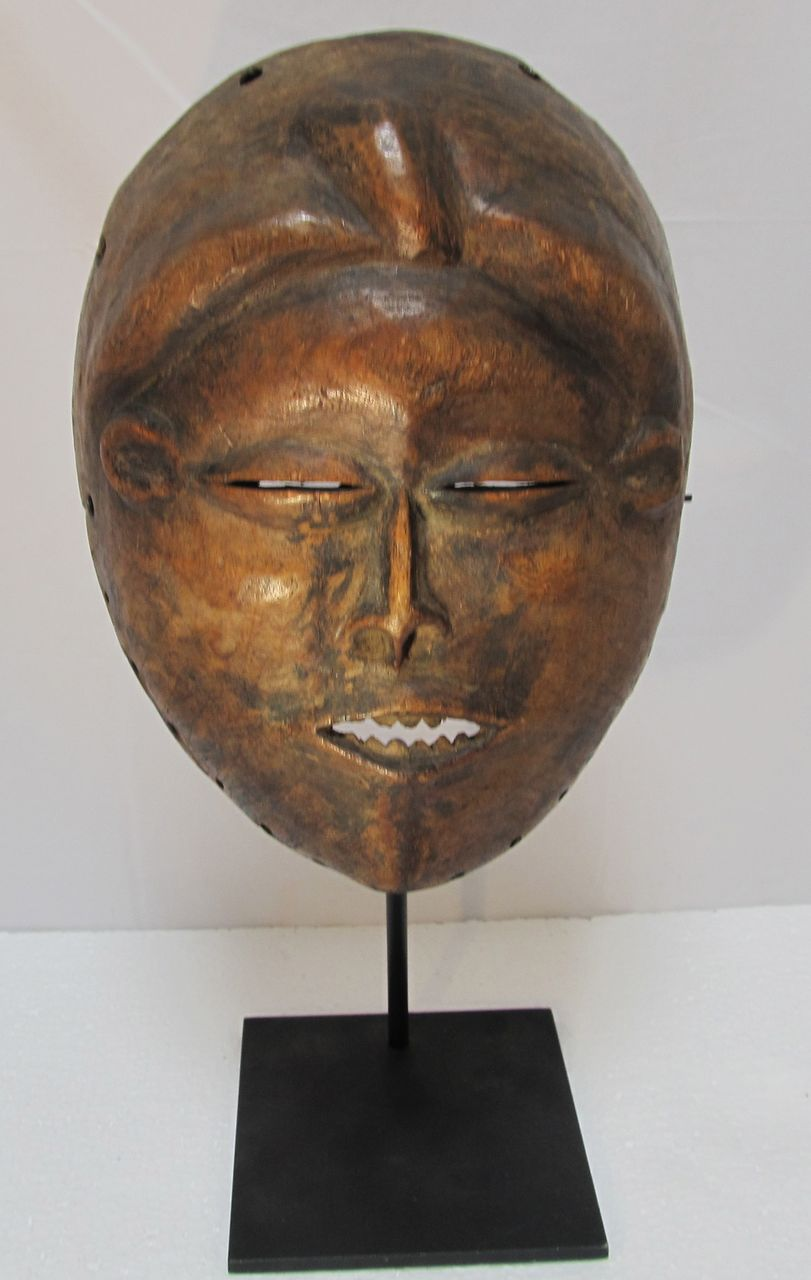 African Wood Mask on Stand