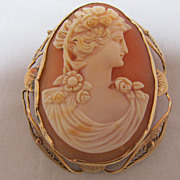 REDUCED Cameo Brooch Pendant 10 K Yellow Gold frame