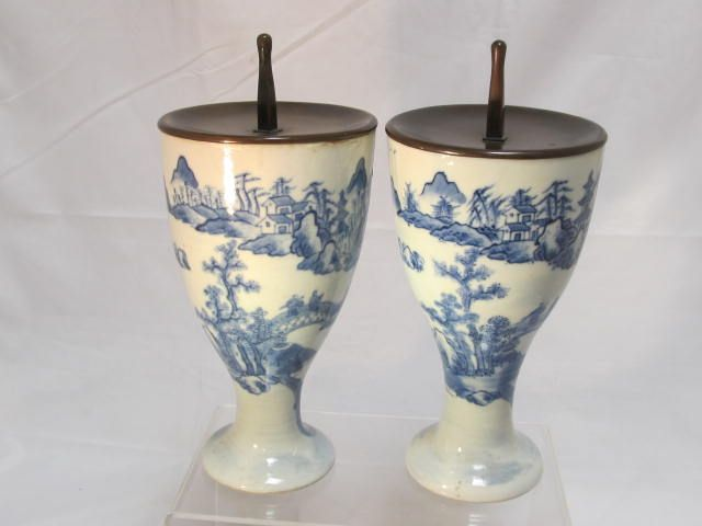 Antique Chinese Beaker Candlesticks Bronze Caps