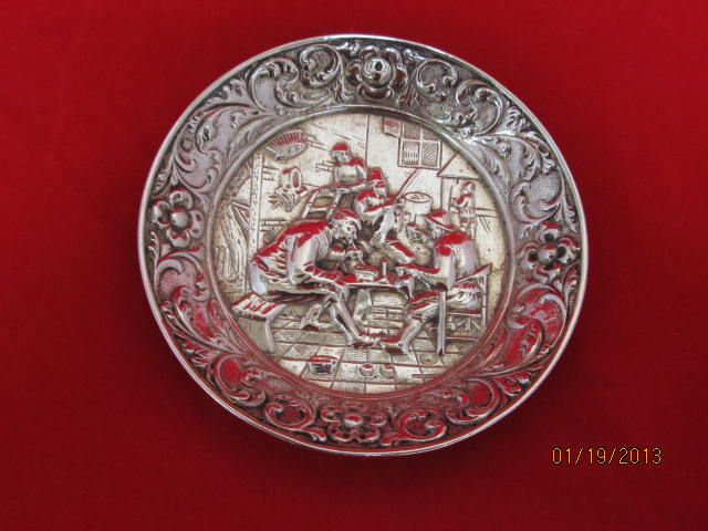 Repousse Continental Silver Pin Tray