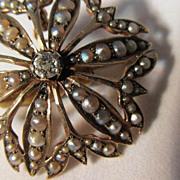 10 K Diamond and Pearl  Pin /Brooch