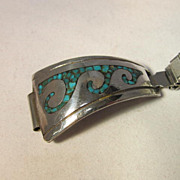 REDUCED Vintage Native American Turquoise Sterling Watch Band Signed