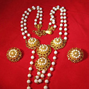 Florenza necklace and earrings beaded gold tone