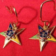 REDUCED Pair 10K Gold Eastern Star Earrings