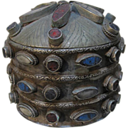 Old Metal Hardstone Circular Box