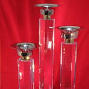 SALE Tall Set of Lucite Candlesticks