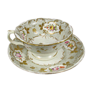 Antique Royal Crown Derby Botanical Cup & Saucer Circa