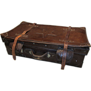 SALE Chinese Leather Suitcase with Star Emblem