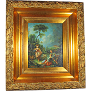 SALE Oil Painting on Board of Figural Scene