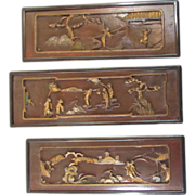 REDUCED Three Chinese Hand Carved Panels