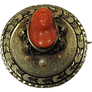 SALE Antique Gold and Coral Pendant/Brooch