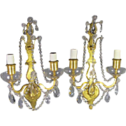 Pair Gilt Bronze 2 lite Sconces by Sterling Bronze Co of New York