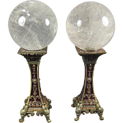 SALE Pair of Quartz Spheres on Metal Stands