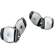 Vintage Art Deco Sterling Silver And Guilloche Enamel Double Sided Cufflinks