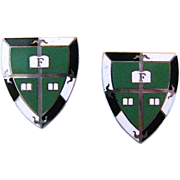 Vintage Sterling Silver And Enamel Shield Cufflinks With Initial F