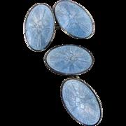 Vintage Art Deco Light Blue Guilloche Enamel Sterling Double Sided Cufflinks