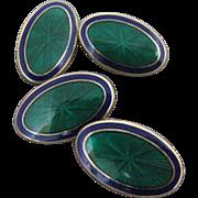 Art Deco Inspired Guilloche Enamel Vermeil Sterling Double Sided Cufflinks
