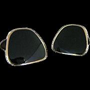 Vintage Sterling Silver And Black Enamel Cufflinks